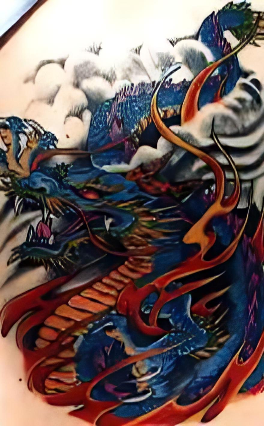 drachen tattoo fotogalerie westlicher chinesischer stil. Black Bedroom Furniture Sets. Home Design Ideas