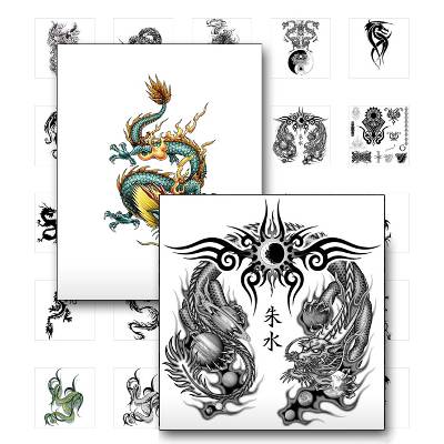 drachen tattoo vorlagen chinesisch westlich und tribals. Black Bedroom Furniture Sets. Home Design Ideas