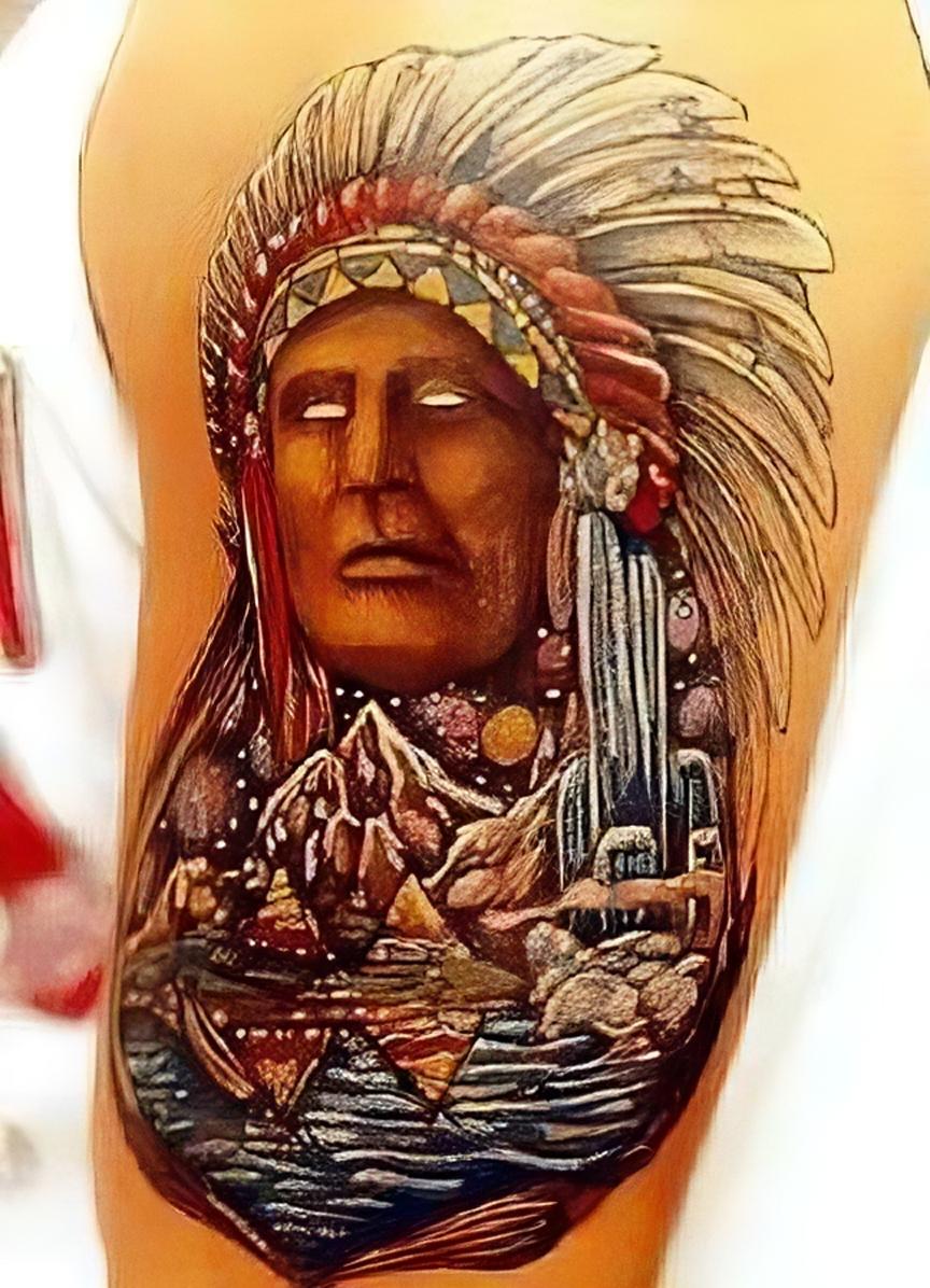 Häuptling mit bunter Landschaft und Indianerzelten - Tattoo Foto