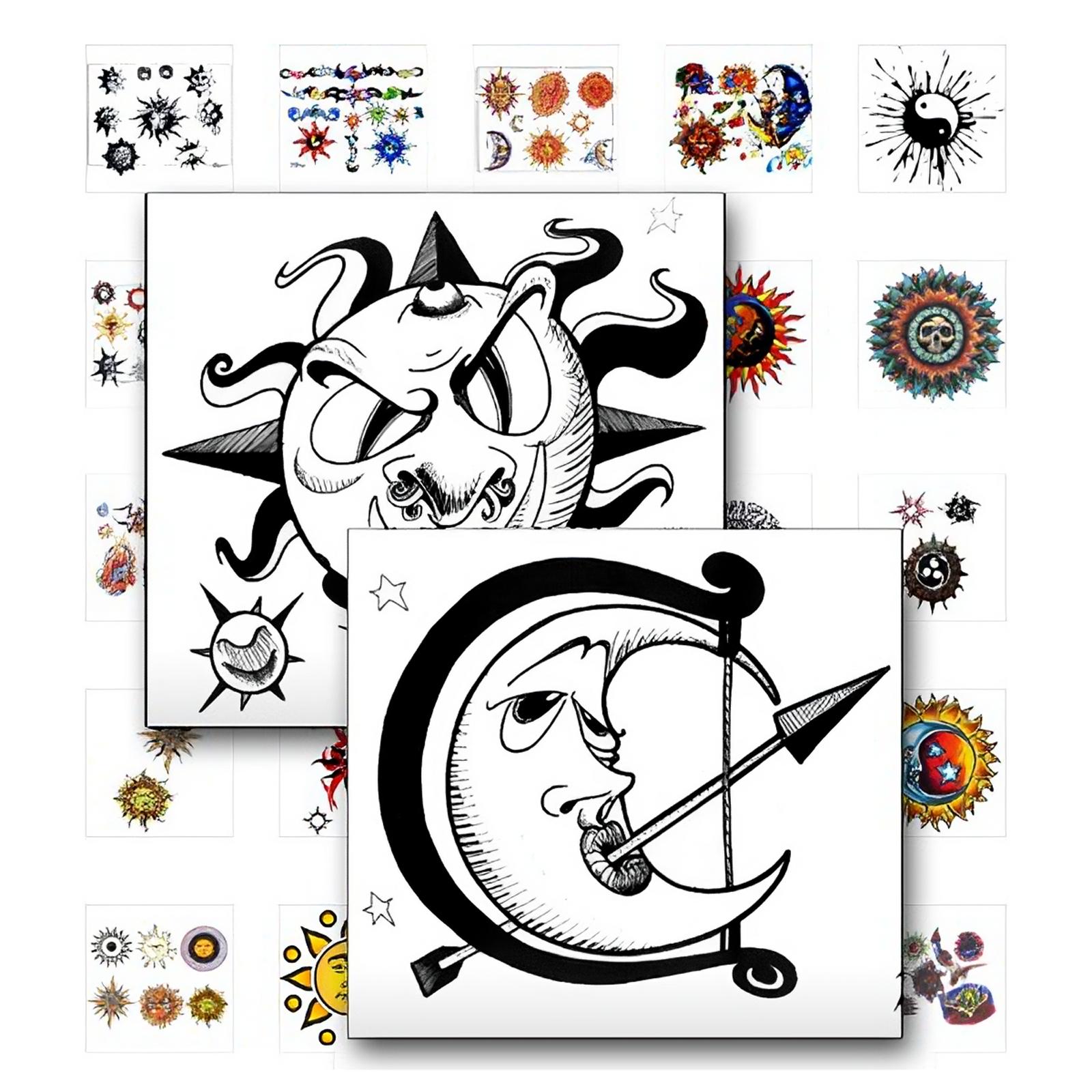 Sonne, Mond und Sterne Tattoo Vorlagen - Vielfalt des Himmels